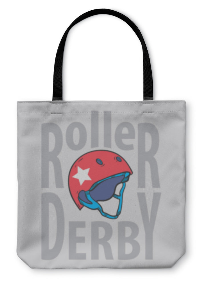 Tote Bag, Roller Derby Helmet Typography Tshirt Graphics S