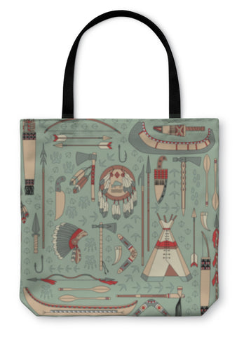 Tote Bag, Pattern With Native American Attributes