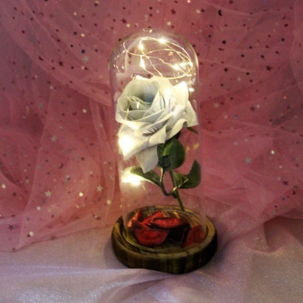 Glass Rose Red Flower with LED Light