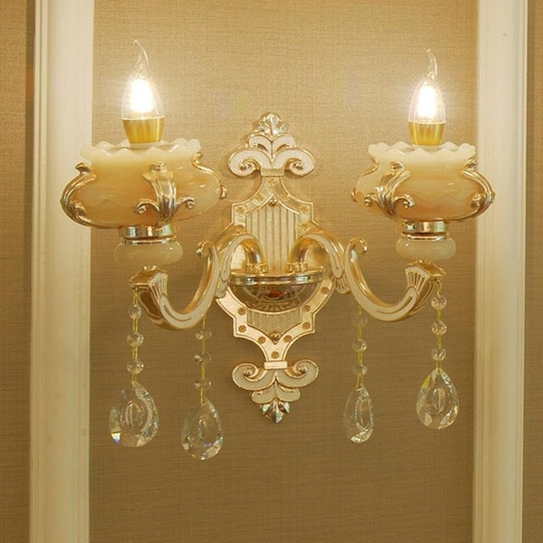 Golden Flower Shape Crystal Jade Wall Lamp