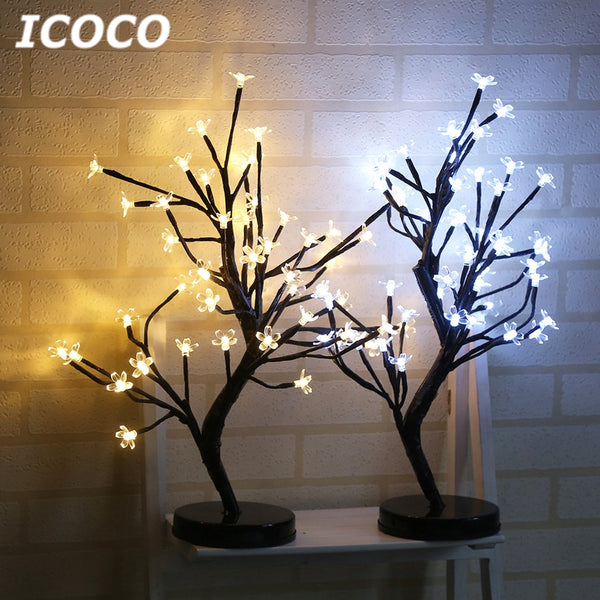 ICOCO 48 LEDs Plum Blossom Tree Night Lights Battery Powered Beautiful Living Room Home Festival Wedding Christmas Decoration