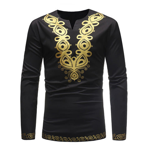 Men's Casual Luxury Afro Style Ethnic Print Long Sleeve Shirt Top