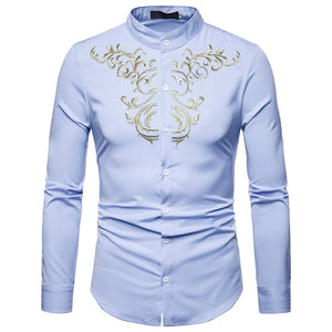 Unique Men Luxury Casual Gold Embroidery Long Sleeve Shirt
