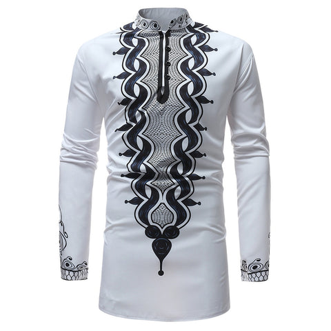 New Men Casual Afro Style Ethnic Print Long-Sleeved