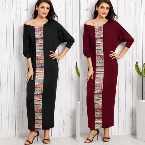 Women Batwing Long Sleeve Crew Neck Maxi Long Dress