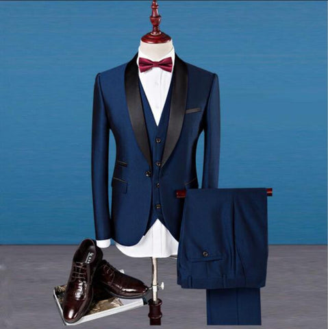 Luxury Navy Blue Men's Wedding Suits Blazers Slim Tuxedos (Jacket+Pants+Vest)
