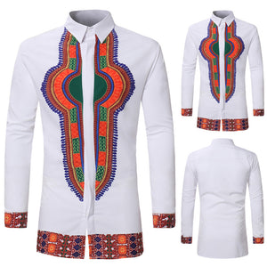 Men's Autumn Winter Luxury African Print Long Sleeve Dashiki made of high quality materials  Shirt Top Gift