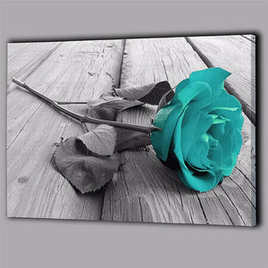 Canvas Hanging Painting 1PC Modern Teal Blue Rose Flower Floral Canvas Large Wall Art