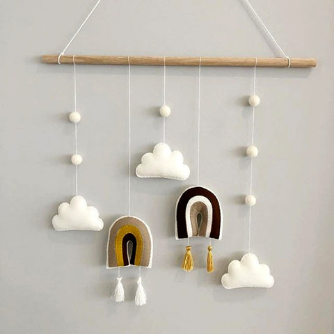 Nordic Style Cute Felt Clouds Shape Wall Hanging Ornament Wooden Stick Tassel Pendant