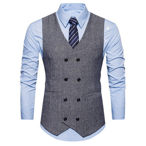 Mens Formal Blazer Vests Double Breasted Sleeveless Business Retro Tweed Vest