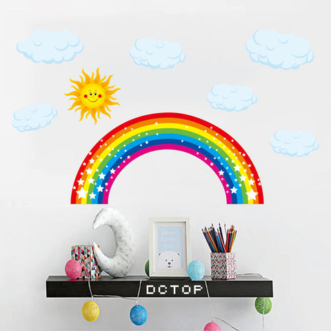 Rainbow Weather Theme Colorful Cartoon Paster Waterproof High Quality Wall Sticker Kids Room Decoration