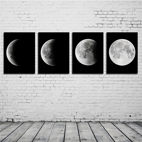 Canvas Print Abstract Moon Poster Painting Art  Change Moon Pictures Decor Frameless Paintings Home Collection