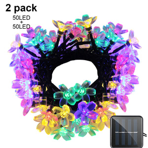 Solar String Lights 21ft 50 LED Fairy Flower Blossom Decorative Light Indoor Garden