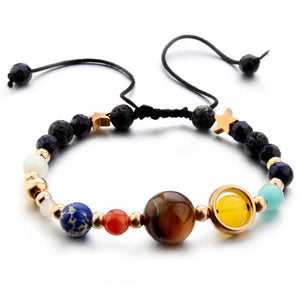 Stylish Wild Galaxy Solar System Eight Planets Theme Natural Stone Beaded Fashion Bracelet
