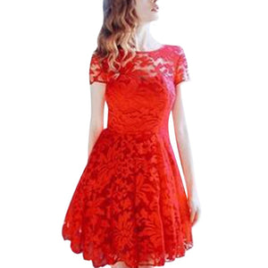 Women Floral Lace Dress Short Sleeve O-Neck Casual Mini Dresses