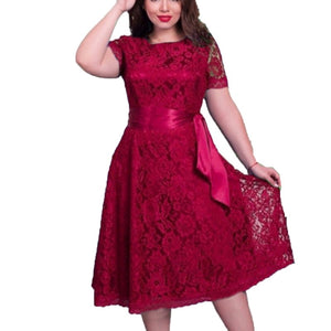 Women Short Sleeve Lace Fit Flare Solid Regular Empire O Neck Sashes Dresses