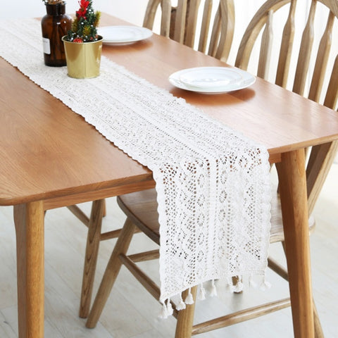 Table Decorations Table Runner Cotton Lace Narrow Tablecloth with Tassels