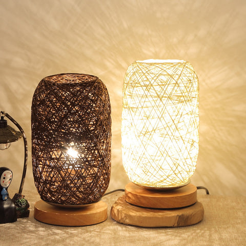 Table LED Lamp Wood Rattan Twine Ball Room Art Decor energy-saving Lamps