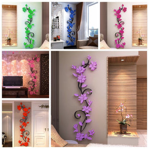 Wall Stickers 3D Romantic Rose Flower Wall Sticker Removable For Home Bedroom Decoration