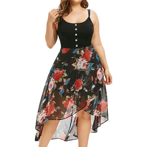Women Chiffon Sexy Plus Size Sleeveless Buttons Floral Print Overlay High Low Dress