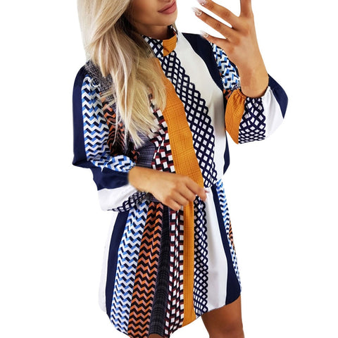 Women's Casual Stand Collar Striped Printed Long Puff Sleeve Loose Mini Dres