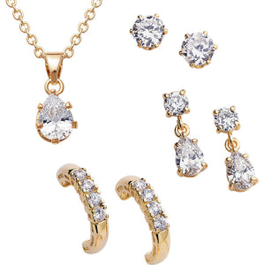 4kt Gold-Plated Pendant 14.46 Carat T.G.W. CZ 1 With 3 Piece Earring Set