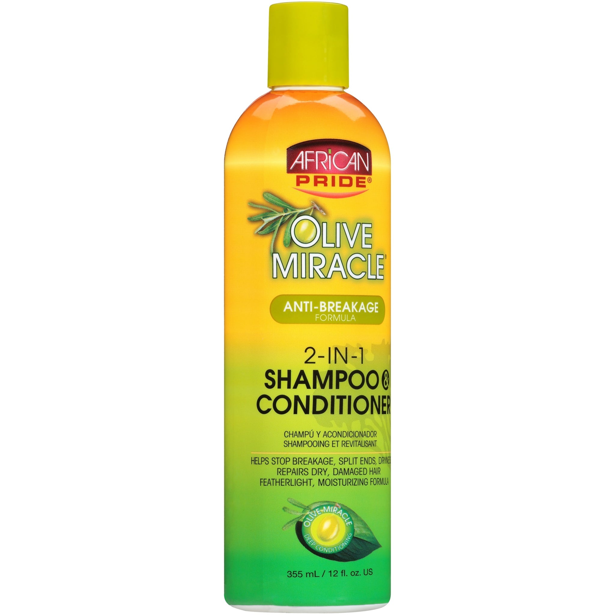 (2 Pack) African Pride Olive Miracle Anti-Breakage Formula 2-in-1 Shampoo & Conditioner 12 fl. oz. Bottle