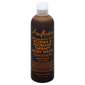 Shea Moisture Afro Black Soap Eczema & Psoriasis Therapy Body Wash, 12 oz.