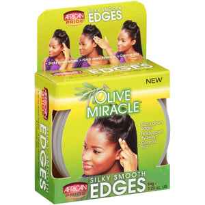 (2 Pack) African Pride Olive Miracle Silky Smooth Edges Hair Gel 2.25 oz. Box