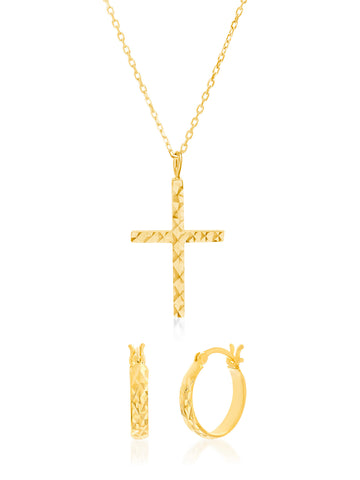 Hoop Earring & Cross Necklace Set in Yellow Gold over Sterling Silver