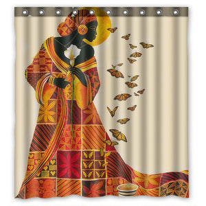 Afro Woman Waterproof Polyester Shower Curtain Bathroom Deco 66x72 inches