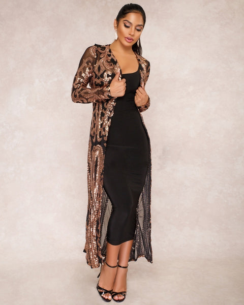 Women's  1920s Embellished Gatsby Art Sexy Sequin Perspective Dress Long Coat Maxi Sweater