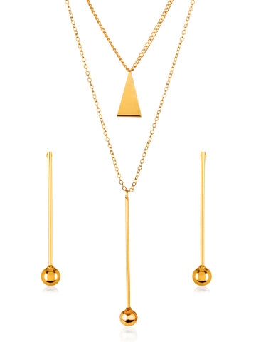 Gold Tone Bar Ball Drop Charm Necklace and Earrings Jewelry Set