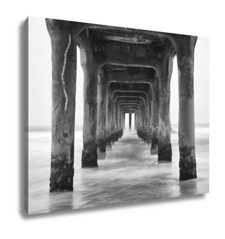 Gallery Wrapped Canvas, Under The Pier Black And White Photo Manhattan Beach California