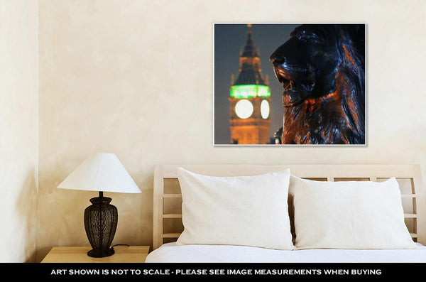 Gallery Wrapped Canvas, Trafalgar Square Lion Statue And Big Ben In London