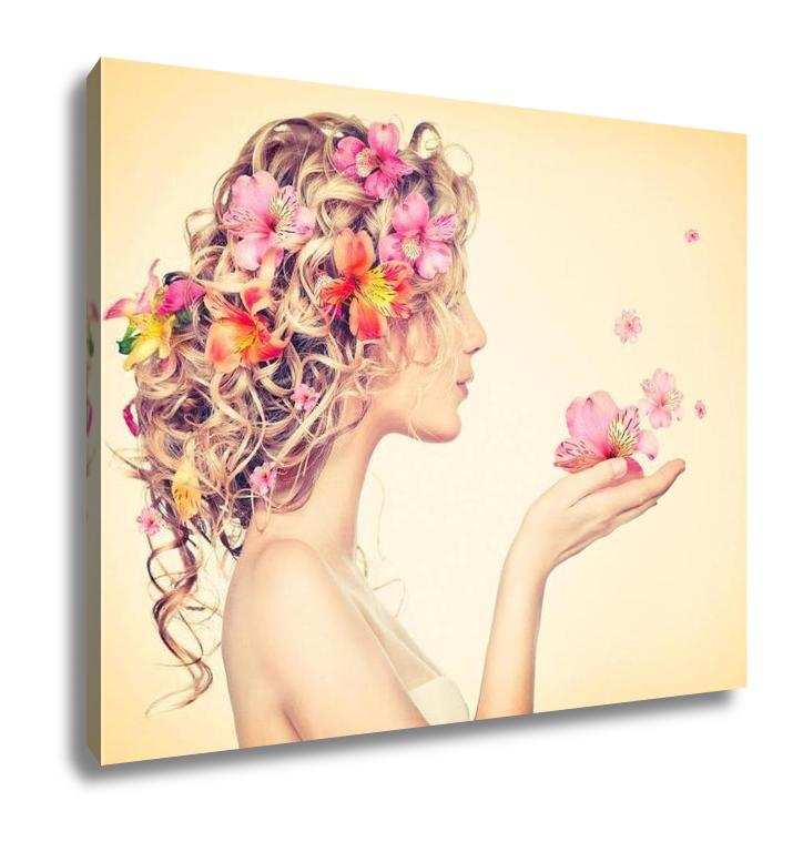Gallery Wrapped Canvas, Fantasy Art Beauty Girl Takes Beautiful Flowers Her Hands