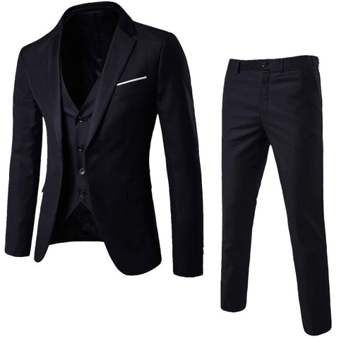 Men Suits Slim 3-Piece Suit Blazer Business Party Jacket Vest Pants