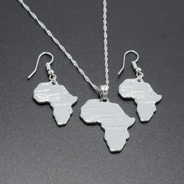 Silver Color Africa Map Pendant Necklaces Earrings