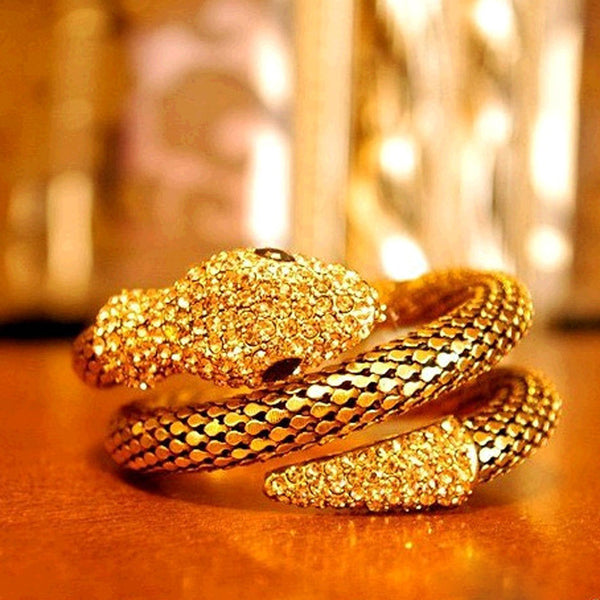 Fashion Cobra Bracelet For Women Metal Silver Punk Rock Ring Vintage Animal Jewe