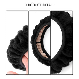 Car Steering Wheel Cover Winter Warm Fuzzy Cover No Need Stitch Plush Warm  Fit for Most 36-38cm Car Steering Wheel