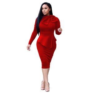 New Stylish Ladies Elegant Bow Neck Long Sleeve Pencil Office Dress