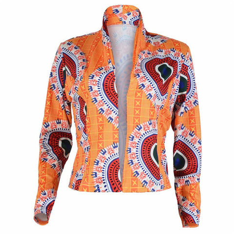 Newly Design Women Fashion Afro Dashiki Print Stand Collar Short Jacke