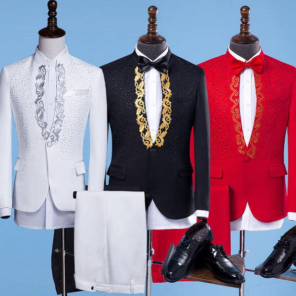 New Fashion Men Suits Gold Embroidery Blazers