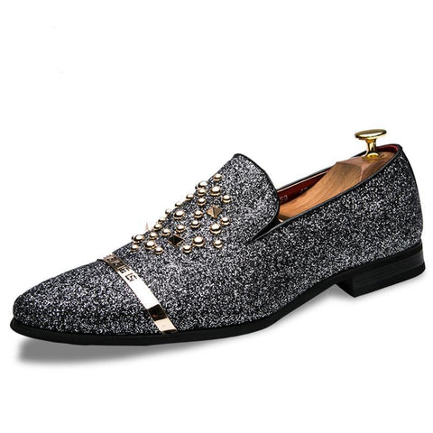 New Luxury Brand Men loafers Silver Black Diamond Shoes