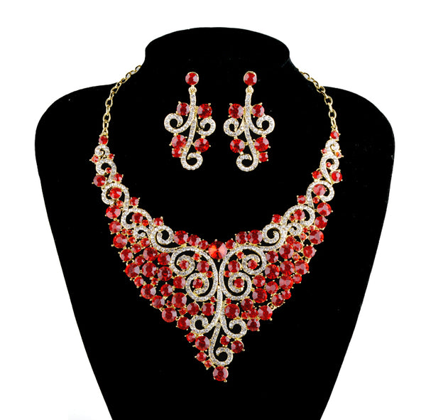 Afro Style Pink Color Bridal Jewelry Set