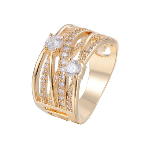 Afro Wide Ring With Zirconia 18K Gold/Platinum