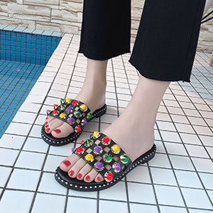 Colorful Rivet Slip On shoes