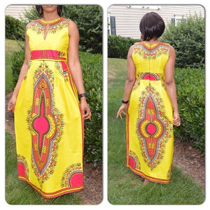 Afro Ethnic Totem Print A Classic African Traditional Dashiki Sleeveless Sundress