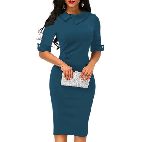 Women Turn-down Collar Spring Office Half Sleeve Dress