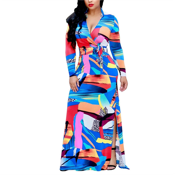 African Fashion Women V-Neck Long Belted Maxi Long Casual Party Dress